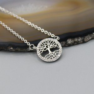 Family tree of life nature silver tone necklace